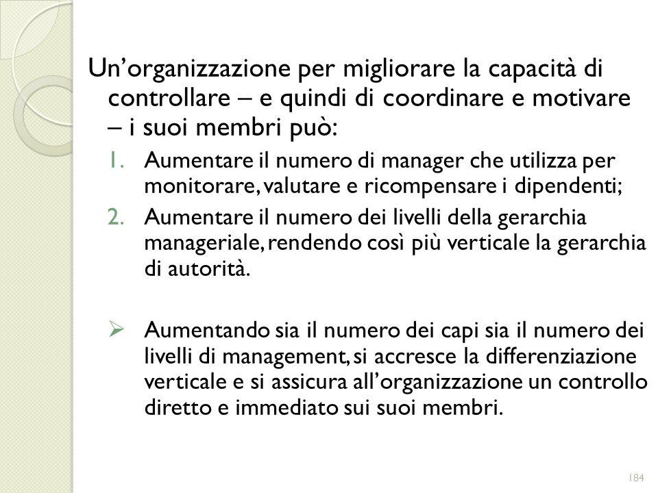 Un'organizzazione per migliorare la capacità di controllare – e quindi di coordinare e motivare – i suoi membri può: