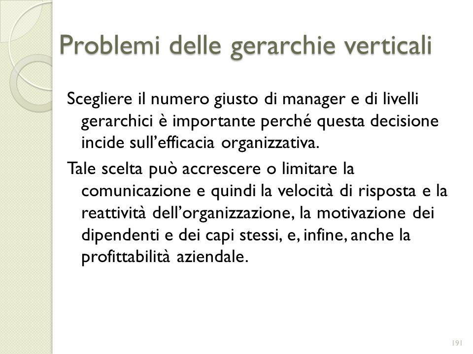 Problemi delle gerarchie verticali