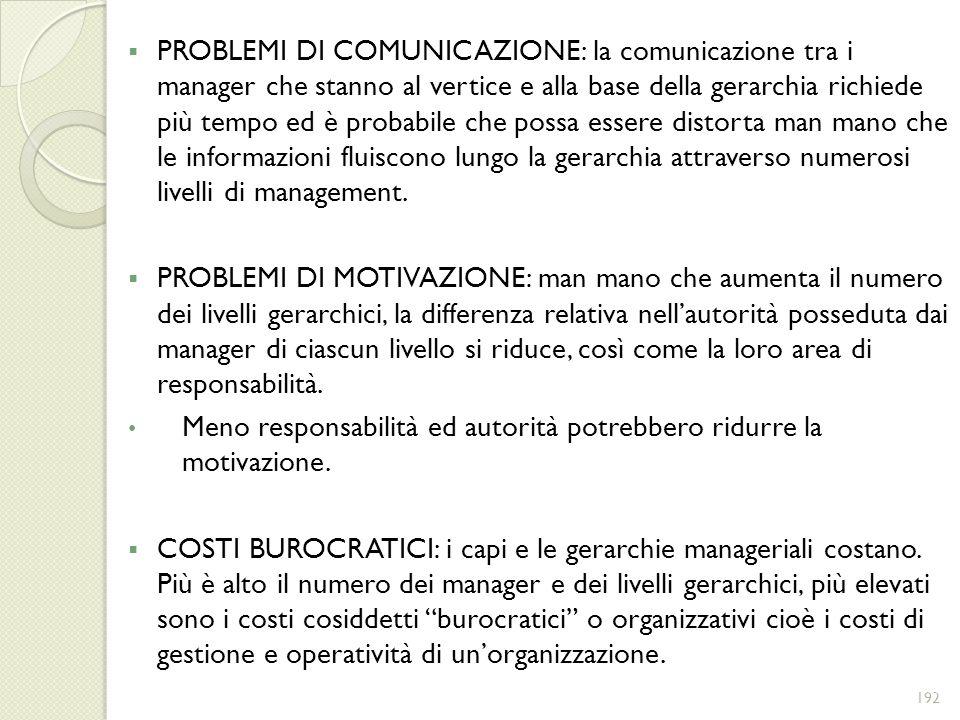 PROBLEMI DI COMUNICAZIONE: la comunicazione tra i manager che stanno al vertice e alla base della gerarchia richiede più tempo ed è probabile che possa essere distorta man mano che le informazioni fluiscono lungo la gerarchia attraverso numerosi livelli di management.
