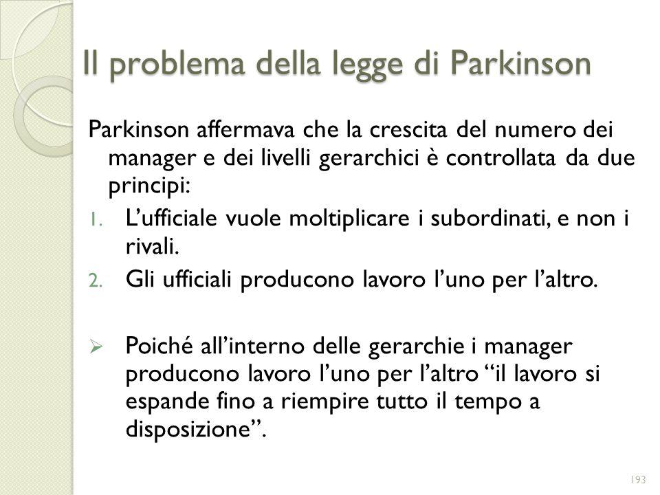 Il problema della legge di Parkinson