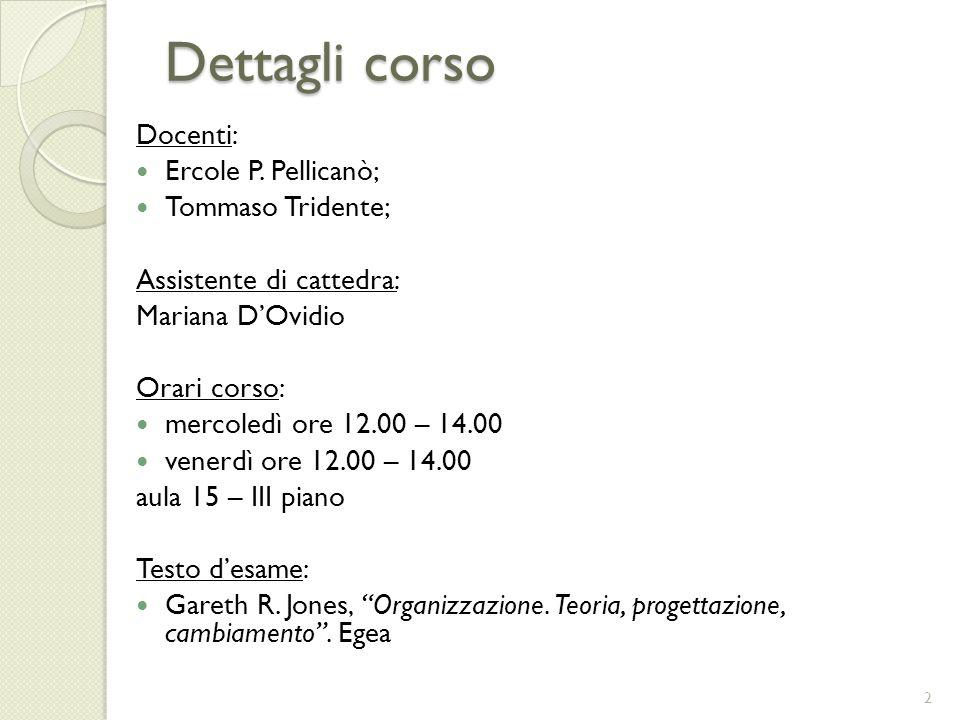 Dettagli corso Docenti: Ercole P. Pellicanò; Tommaso Tridente;