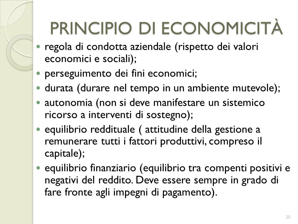 PRINCIPIO DI ECONOMICITÀ