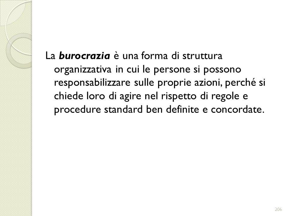 La burocrazia è una forma di struttura organizzativa in cui le persone si possono responsabilizzare sulle proprie azioni, perché si chiede loro di agire nel rispetto di regole e procedure standard ben definite e concordate.