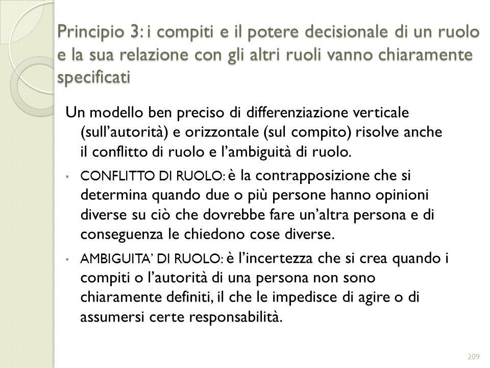 Principio 3: i compiti e il potere decisionale di un ruolo e la sua relazione con gli altri ruoli vanno chiaramente specificati