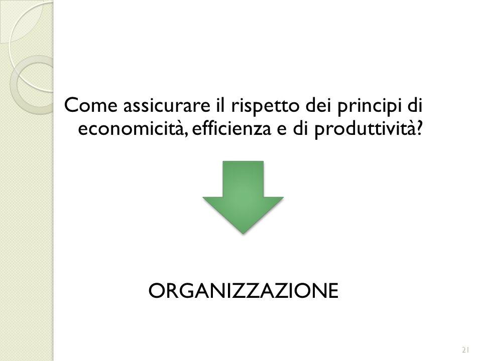 Come assicurare il rispetto dei principi di economicità, efficienza e di produttività.