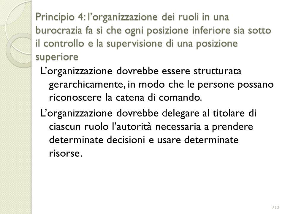 Principio 4: l'organizzazione dei ruoli in una burocrazia fa si che ogni posizione inferiore sia sotto il controllo e la supervisione di una posizione superiore