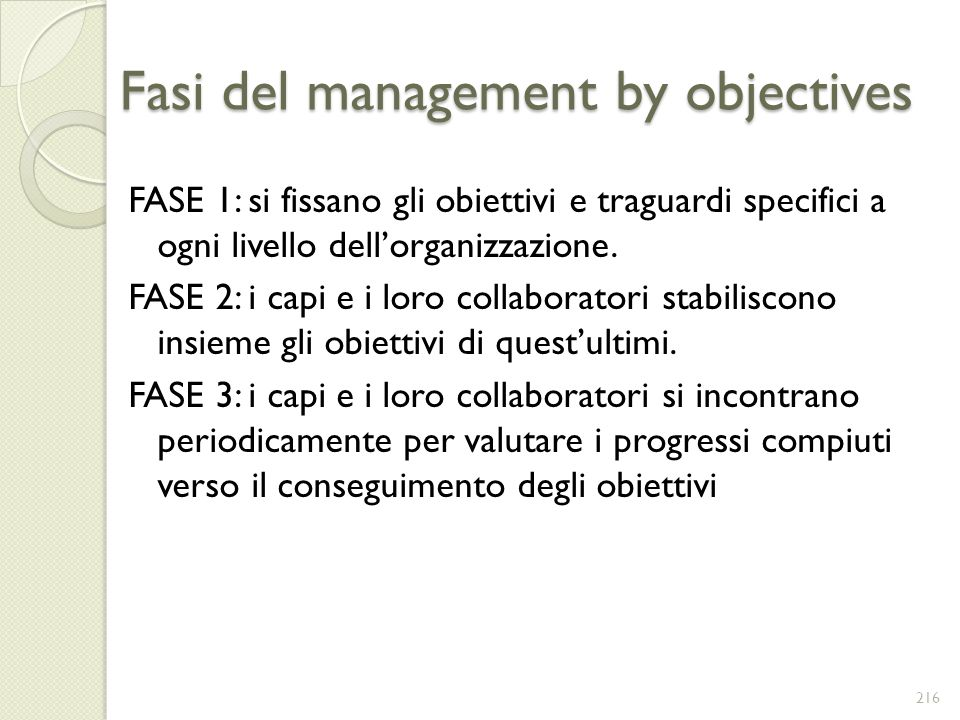 Fasi del management by objectives