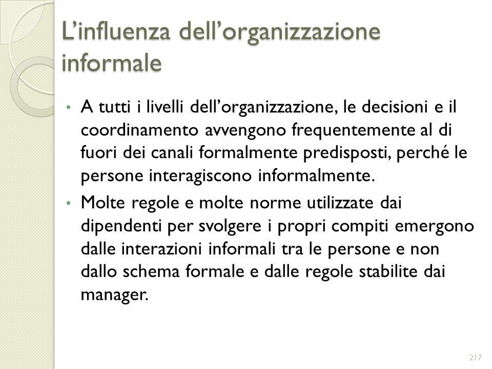 L'influenza dell'organizzazione informale