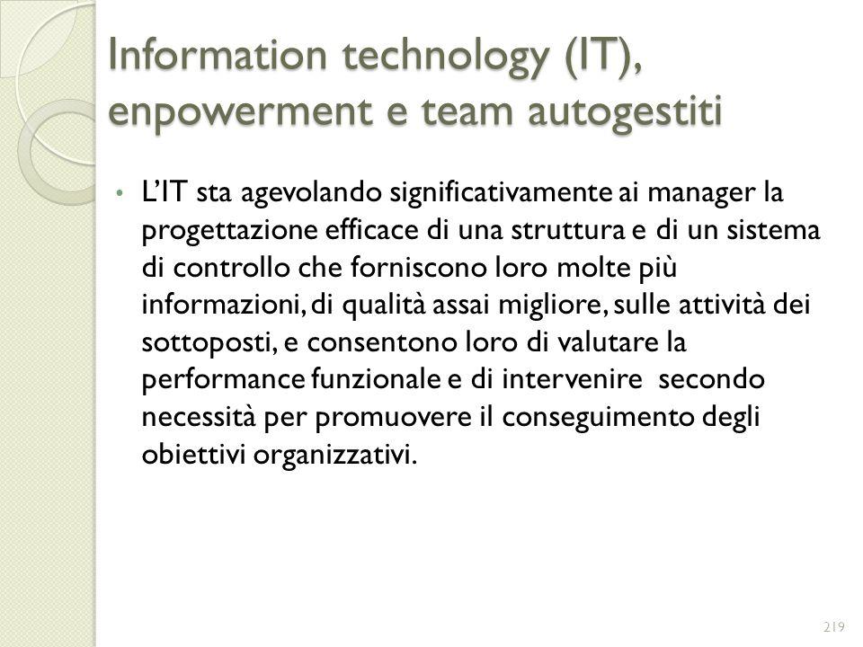 Information technology (IT), enpowerment e team autogestiti