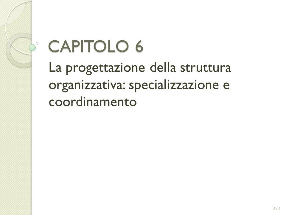 CAPITOLO 6 La progettazione della struttura organizzativa: specializzazione e coordinamento