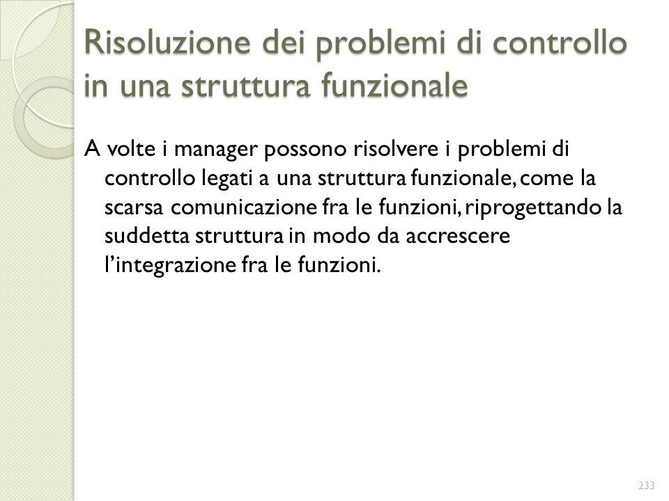 Risoluzione dei problemi di controllo in una struttura funzionale