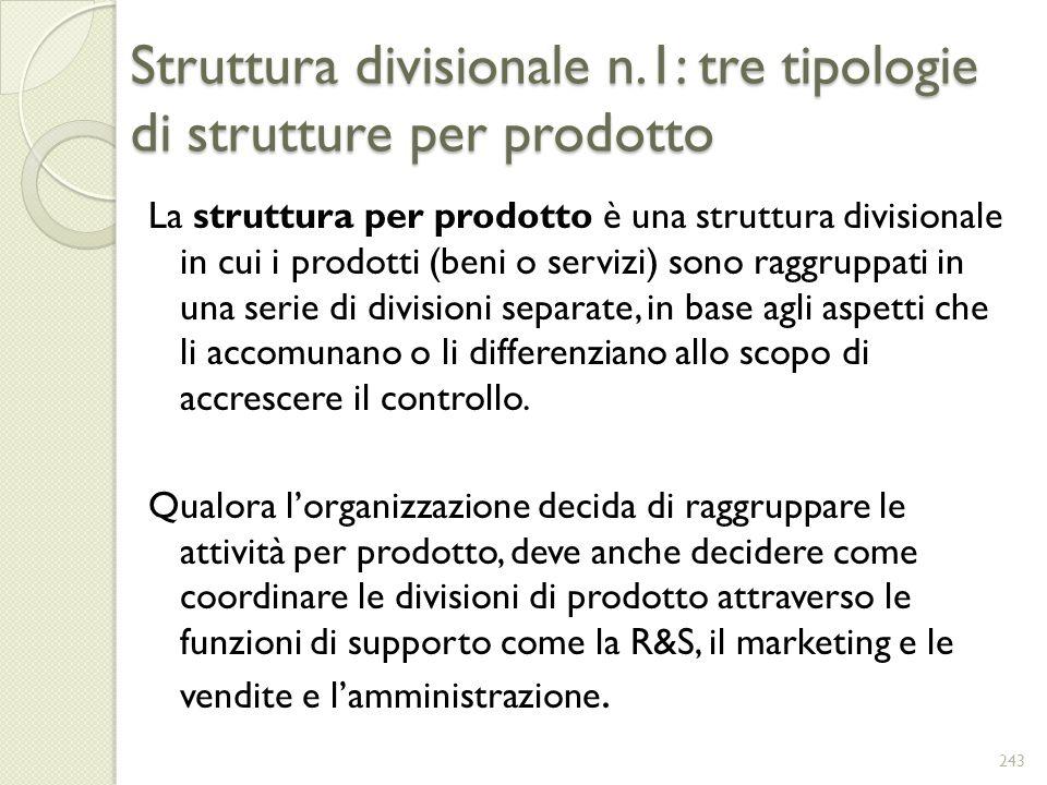 Struttura divisionale n.1: tre tipologie di strutture per prodotto