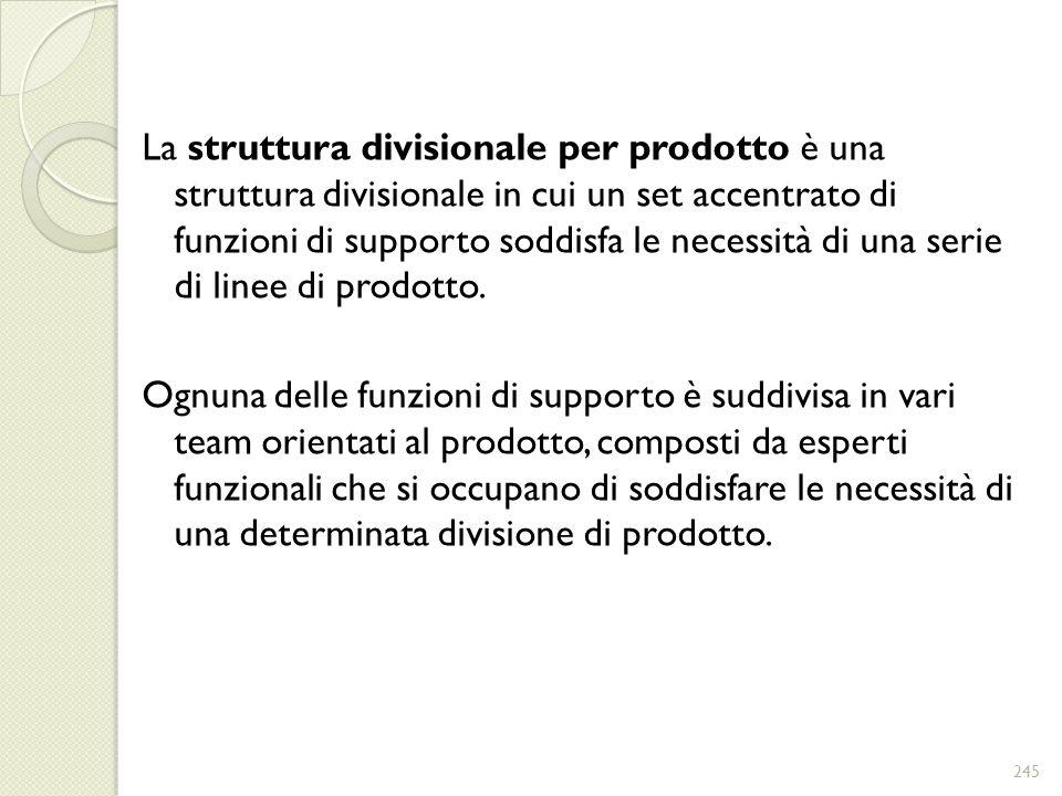 La struttura divisionale per prodotto è una struttura divisionale in cui un set accentrato di funzioni di supporto soddisfa le necessità di una serie di linee di prodotto.