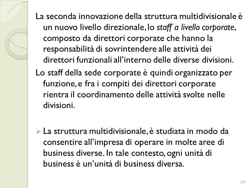 La seconda innovazione della struttura multidivisionale è un nuovo livello direzionale, lo staff a livello corporate, composto da direttori corporate che hanno la responsabilità di sovrintendere alle attività dei direttori funzionali all'interno delle diverse divisioni.