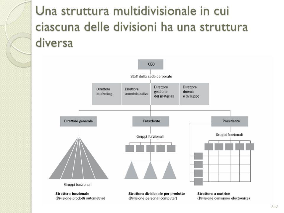 Una struttura multidivisionale in cui ciascuna delle divisioni ha una struttura diversa