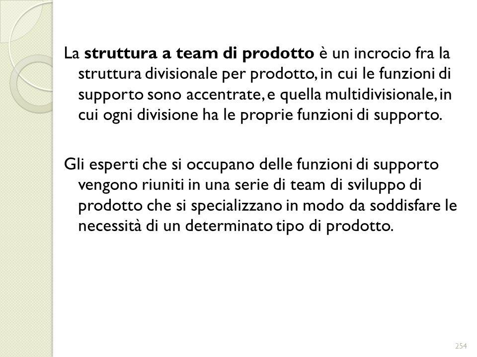 La struttura a team di prodotto è un incrocio fra la struttura divisionale per prodotto, in cui le funzioni di supporto sono accentrate, e quella multidivisionale, in cui ogni divisione ha le proprie funzioni di supporto.