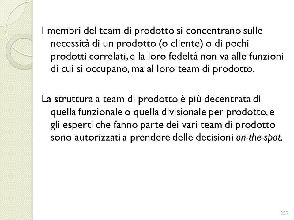 I membri del team di prodotto si concentrano sulle necessità di un prodotto (o cliente) o di pochi prodotti correlati, e la loro fedeltà non va alle funzioni di cui si occupano, ma al loro team di prodotto.