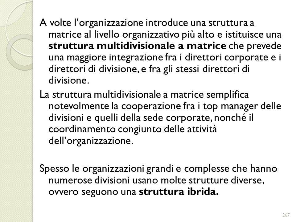A volte l'organizzazione introduce una struttura a matrice al livello organizzativo più alto e istituisce una struttura multidivisionale a matrice che prevede una maggiore integrazione fra i direttori corporate e i direttori di divisione, e fra gli stessi direttori di divisione.