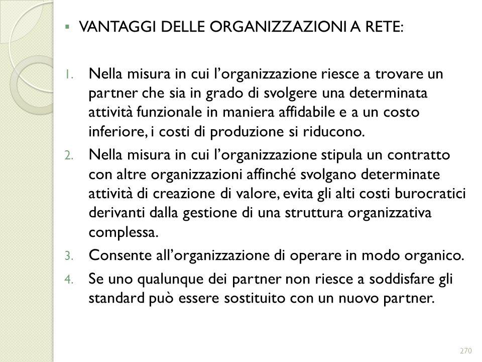 VANTAGGI DELLE ORGANIZZAZIONI A RETE: