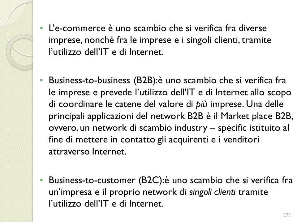 L'e-commerce è uno scambio che si verifica fra diverse imprese, nonché fra le imprese e i singoli clienti, tramite l'utilizzo dell'IT e di Internet.