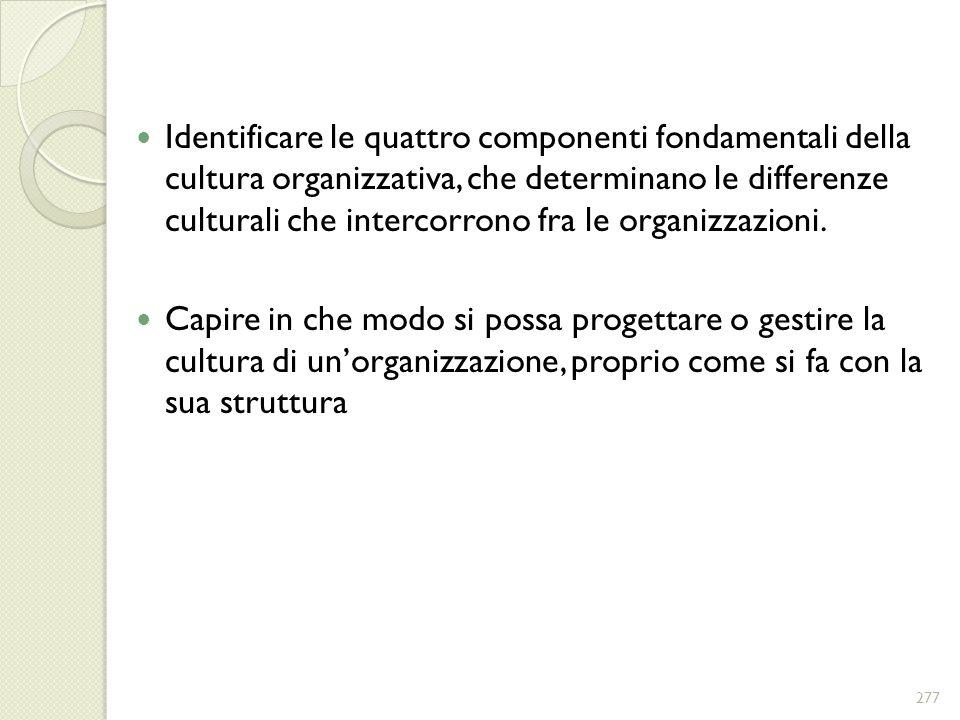 Identificare le quattro componenti fondamentali della cultura organizzativa, che determinano le differenze culturali che intercorrono fra le organizzazioni.