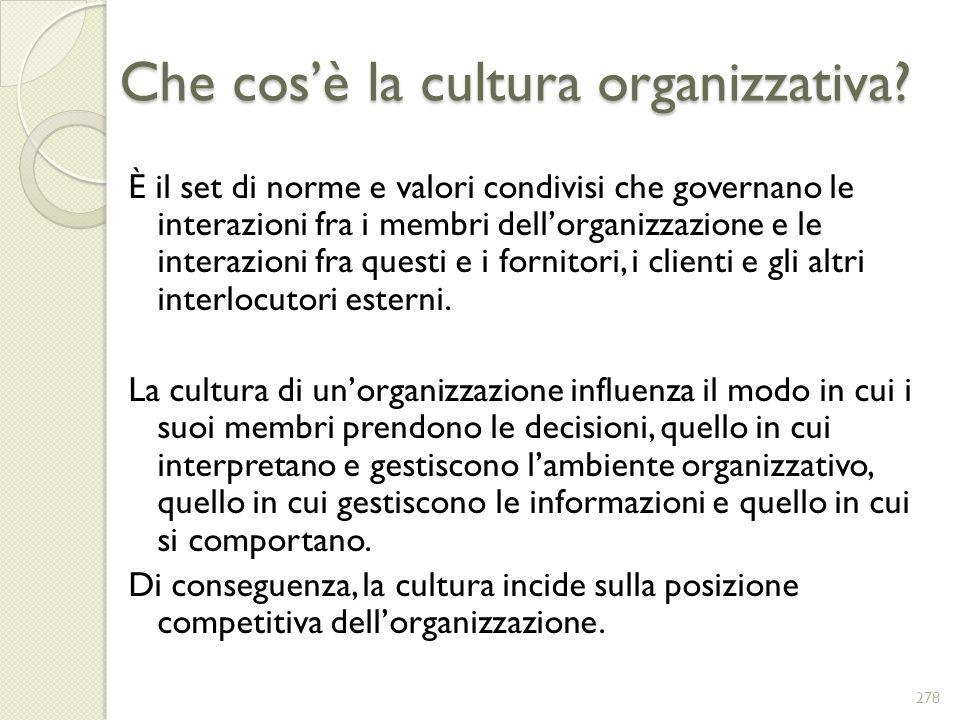 Che cos'è la cultura organizzativa