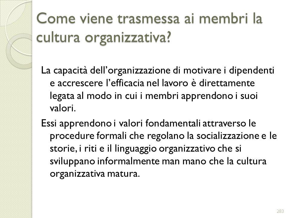 Come viene trasmessa ai membri la cultura organizzativa