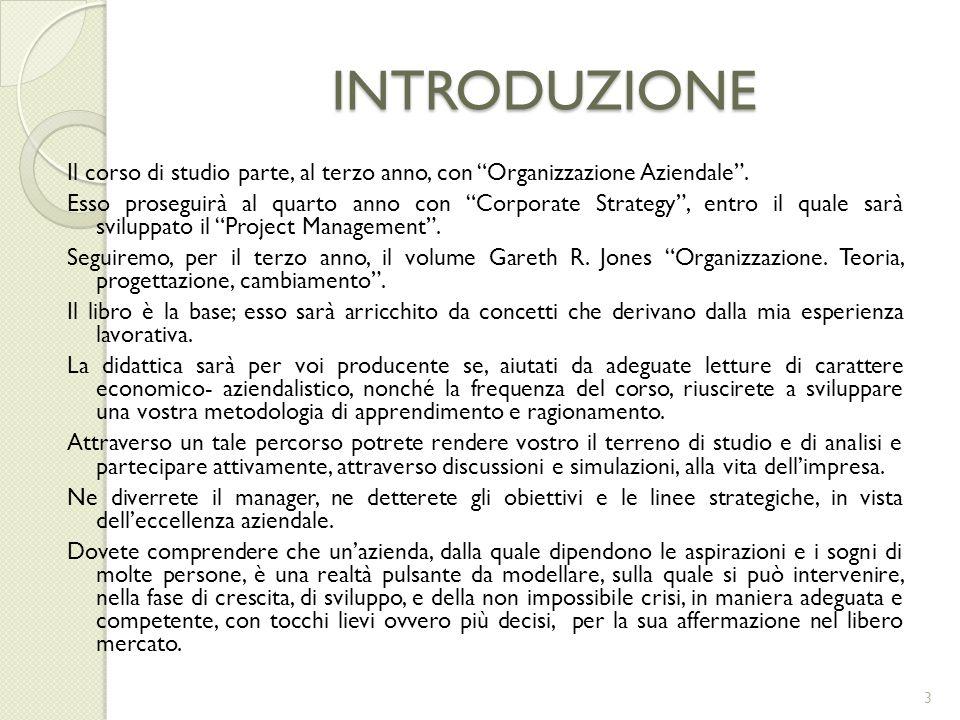 INTRODUZIONE Il corso di studio parte, al terzo anno, con Organizzazione Aziendale .