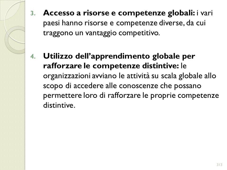 Accesso a risorse e competenze globali: i vari paesi hanno risorse e competenze diverse, da cui traggono un vantaggio competitivo.