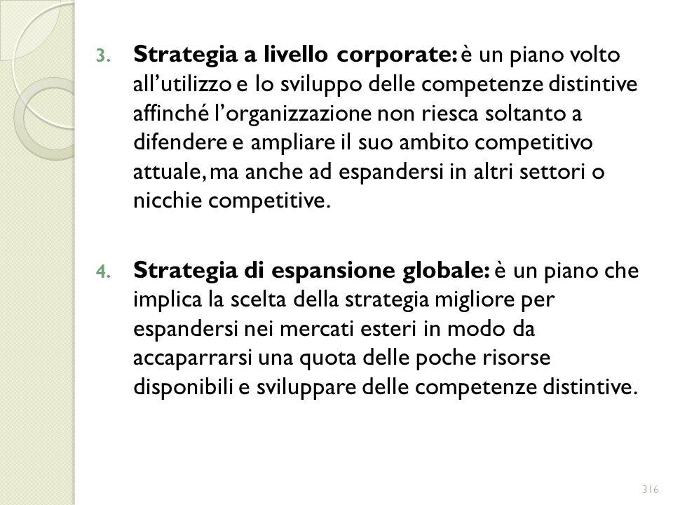 Strategia a livello corporate: è un piano volto all'utilizzo e lo sviluppo delle competenze distintive affinché l'organizzazione non riesca soltanto a difendere e ampliare il suo ambito competitivo attuale, ma anche ad espandersi in altri settori o nicchie competitive.