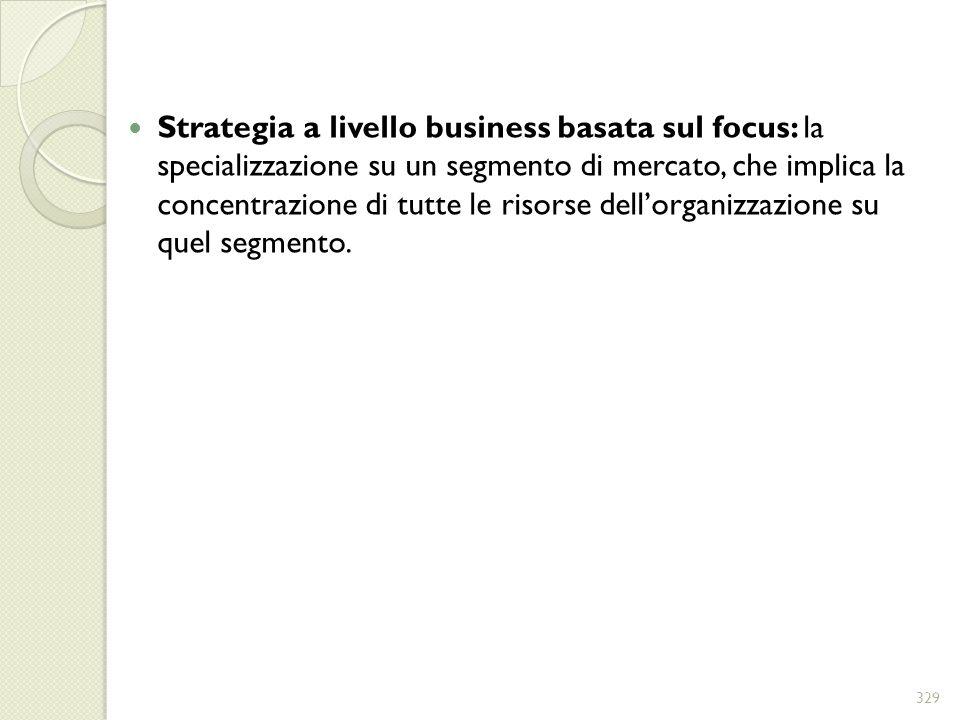 Strategia a livello business basata sul focus: la specializzazione su un segmento di mercato, che implica la concentrazione di tutte le risorse dell'organizzazione su quel segmento.