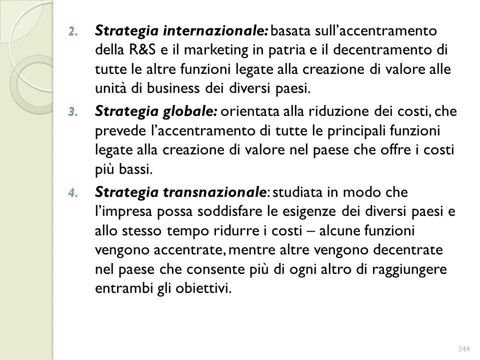 Strategia internazionale: basata sull'accentramento della R&S e il marketing in patria e il decentramento di tutte le altre funzioni legate alla creazione di valore alle unità di business dei diversi paesi.