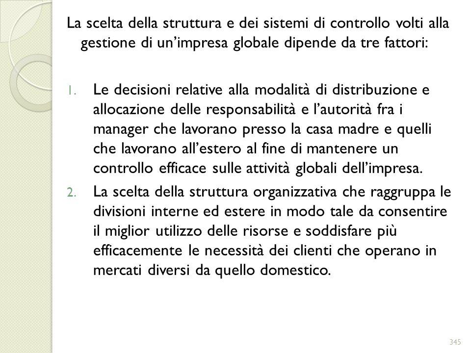 La scelta della struttura e dei sistemi di controllo volti alla gestione di un'impresa globale dipende da tre fattori: