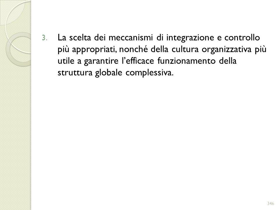 La scelta dei meccanismi di integrazione e controllo più appropriati, nonché della cultura organizzativa più utile a garantire l'efficace funzionamento della struttura globale complessiva.