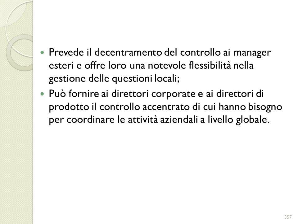 Prevede il decentramento del controllo ai manager esteri e offre loro una notevole flessibilità nella gestione delle questioni locali;