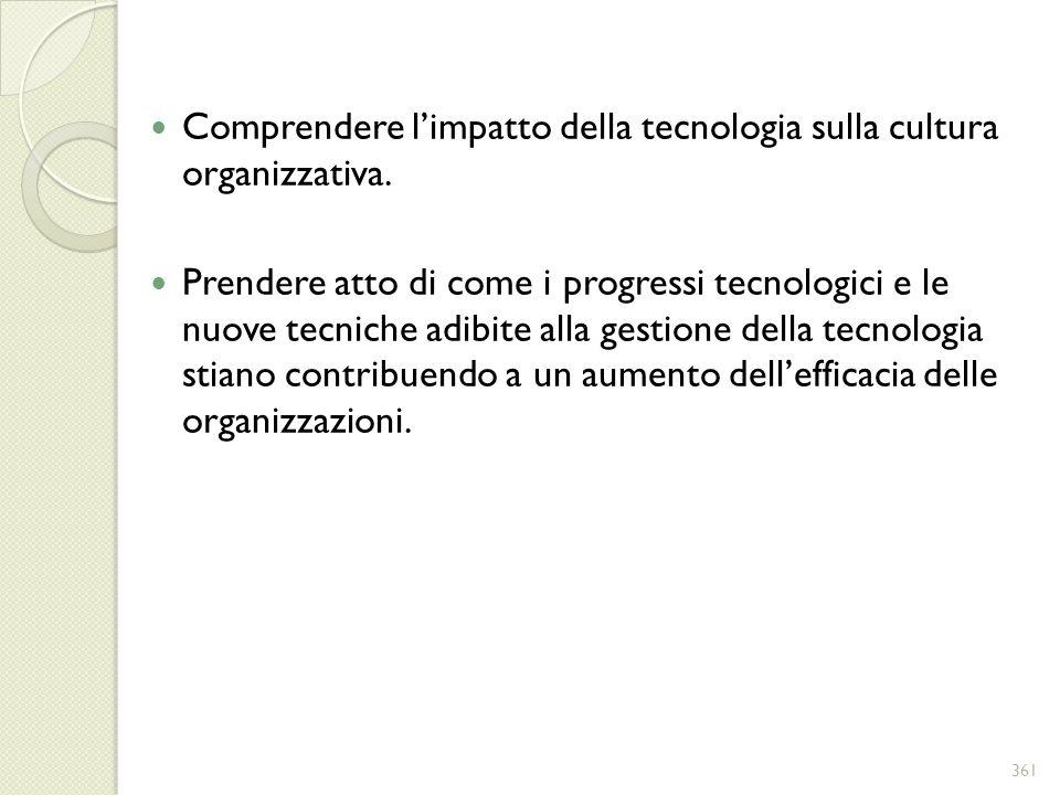 Comprendere l'impatto della tecnologia sulla cultura organizzativa.