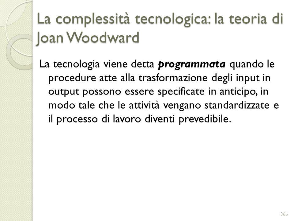 La complessità tecnologica: la teoria di Joan Woodward