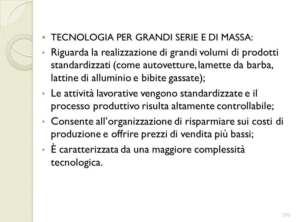 È caratterizzata da una maggiore complessità tecnologica.