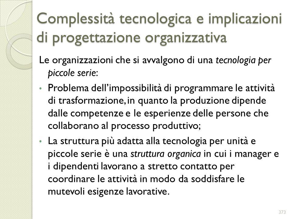 Complessità tecnologica e implicazioni di progettazione organizzativa
