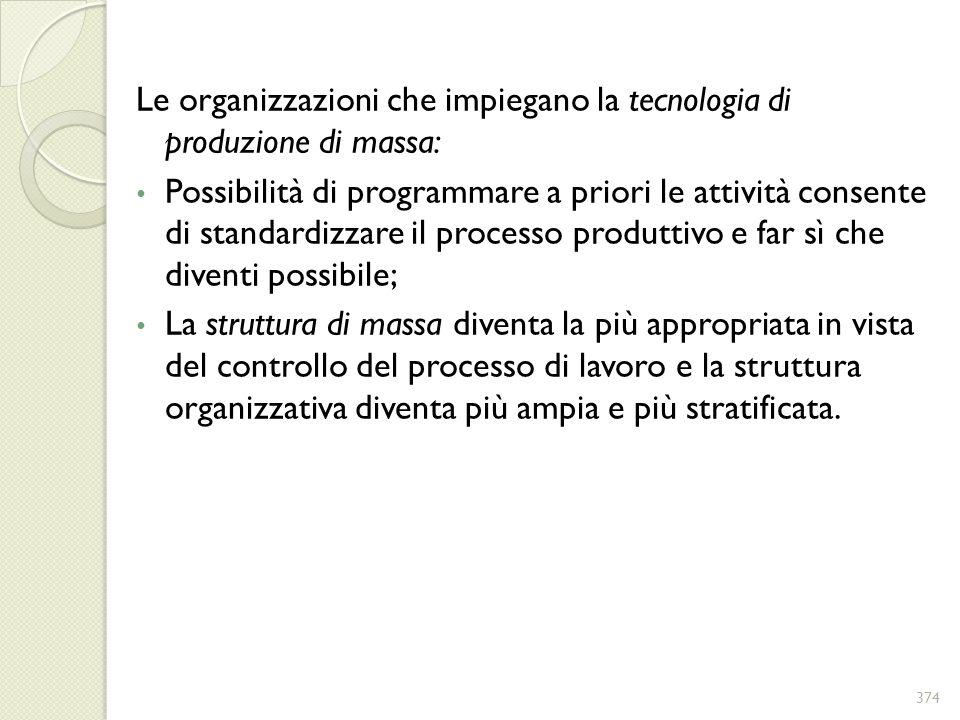 Le organizzazioni che impiegano la tecnologia di produzione di massa: