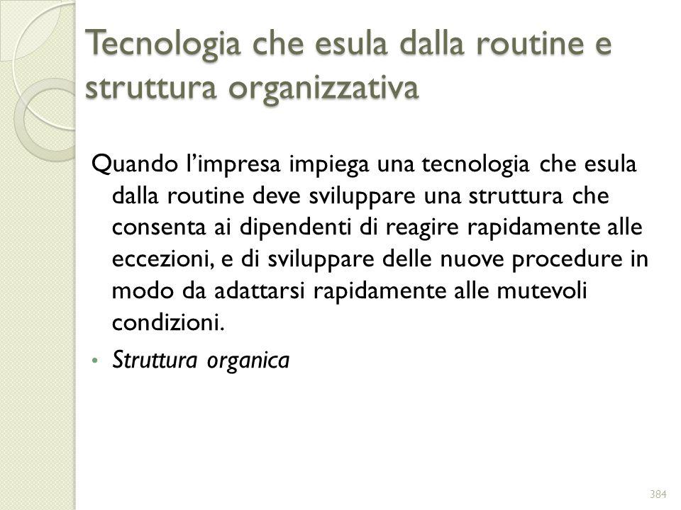 Tecnologia che esula dalla routine e struttura organizzativa