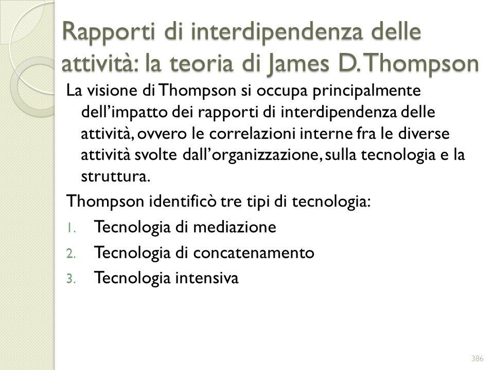 Rapporti di interdipendenza delle attività: la teoria di James D