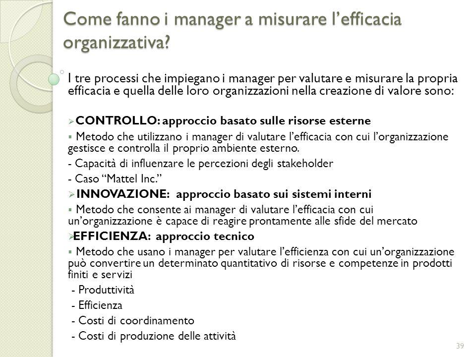 Come fanno i manager a misurare l'efficacia organizzativa