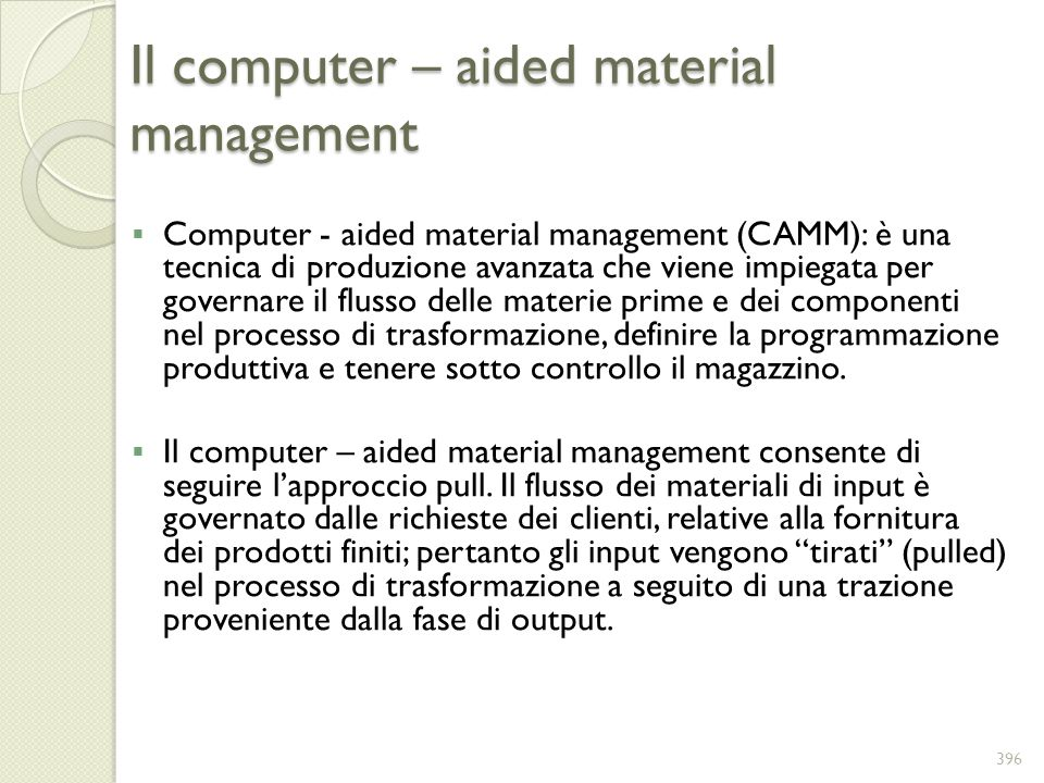 Il computer – aided material management