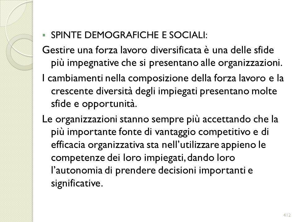 SPINTE DEMOGRAFICHE E SOCIALI: