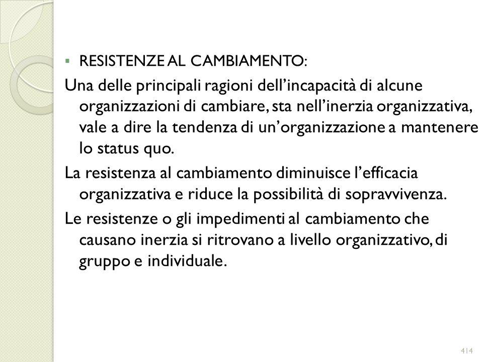 RESISTENZE AL CAMBIAMENTO: