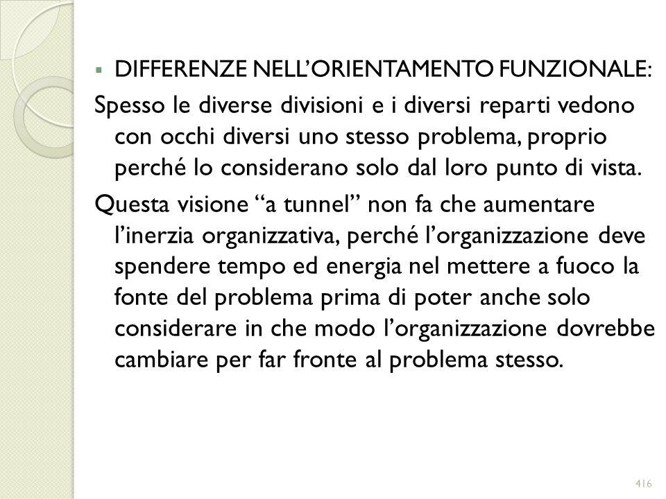 DIFFERENZE NELL'ORIENTAMENTO FUNZIONALE:
