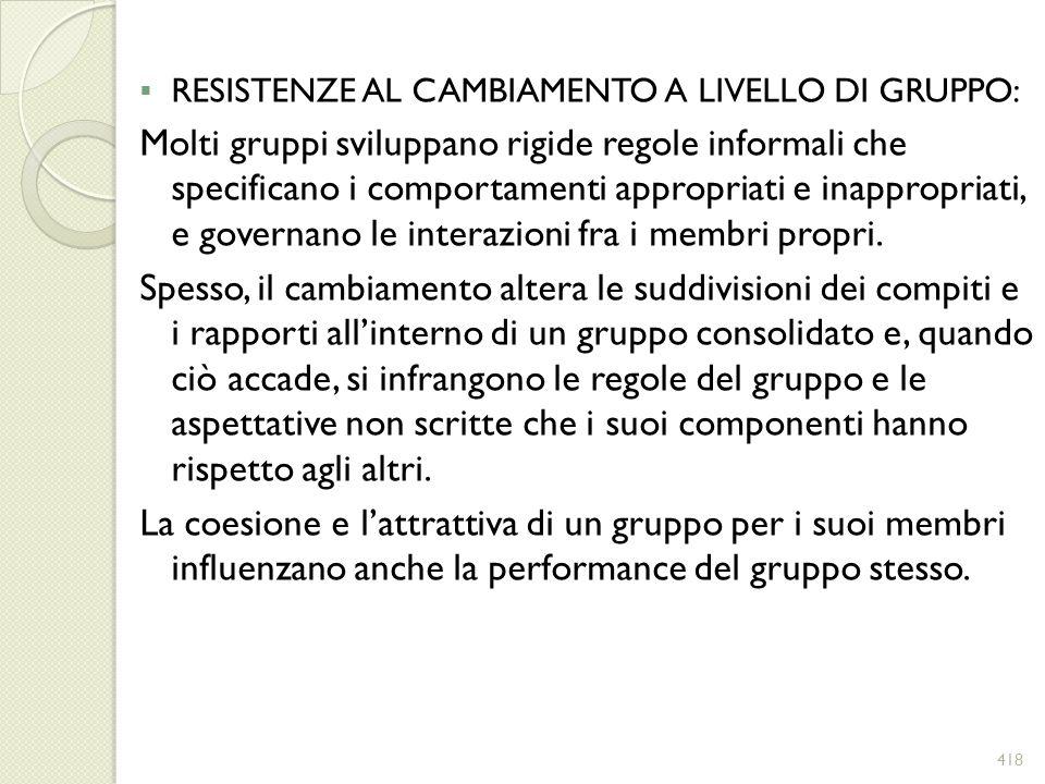 RESISTENZE AL CAMBIAMENTO A LIVELLO DI GRUPPO: