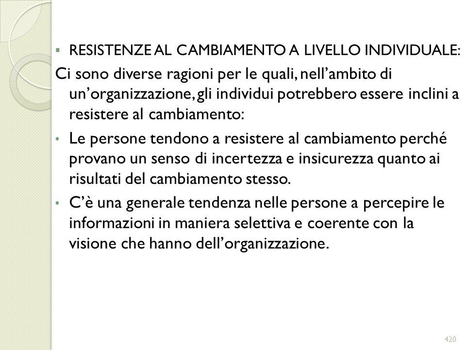 RESISTENZE AL CAMBIAMENTO A LIVELLO INDIVIDUALE: