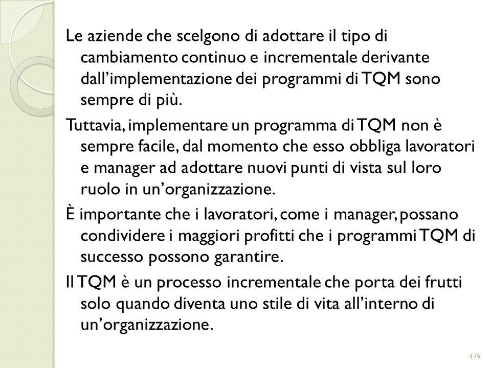 Le aziende che scelgono di adottare il tipo di cambiamento continuo e incrementale derivante dall'implementazione dei programmi di TQM sono sempre di più.